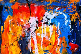 Orange and Blue Abstract Painting wallpaper, abstract expressionism, acrylic
