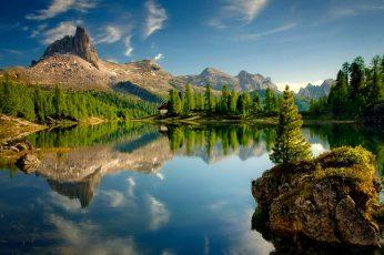 Wallpaper nature, landscape, water, sky, travel, lake, tree, mountain