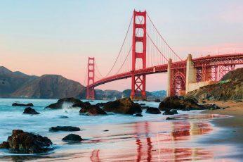 Wallpaper bridge, sky, architecture, city, water, landscape, travel, sea