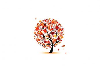 Orange tree illustration wallpaper, trees, artwork, simple, vector, minimalism