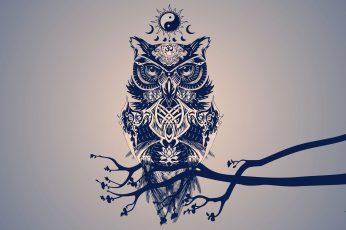 Owl digital wallpaper, painting of owl, minimalism, digital art