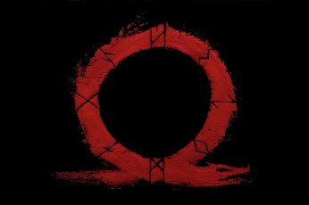 Round red and black logo wallpaper, God, God of War, Kratos, Omega, valhalla