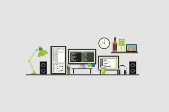 Electronic appliances vector, minimalism, computer, multiple display