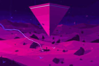 digital wallpaper, digital art, artwork, pink, purple, space, triangle