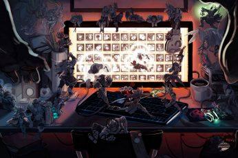 League of Legends illustration wallpaper, Gnar, Ezreal, Lux (League of Legends)