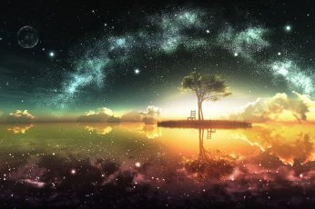 Green tree with chair wallpaper, sky, lake, fantasy art, colorful