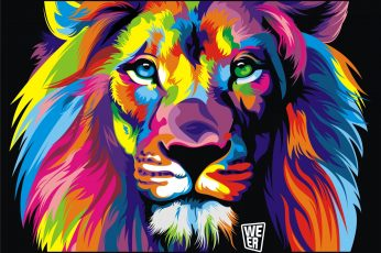 Lion painting wallpaper, colorful, black background, animals, artwork, digital art