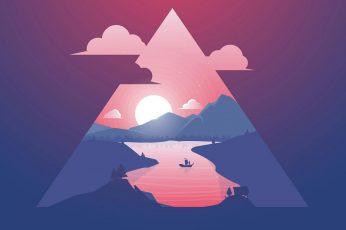 Sunset wallpaper, minimalist, triangle, sky, art, minimal art, illustration