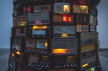 Assorted-color cassette stereo wallpaper, assorted vintage radio lot, old