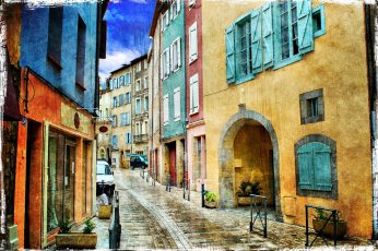 City pavement between buildings wallpaper, ancient, architecture, art