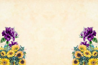 Purple and Yellow flowers on corners of light wallpaper., watercolor