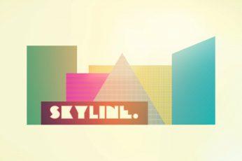 Skyline logo wallpaper, modern, vintage, digital art, artwork, simple background