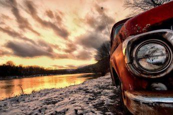 Riverside wallpaper, old car, nature, art, photography, sky, vintage car