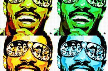 Digital art wallpaper, celebrity, singer, Stevie Wonder, sunglasses, vintage