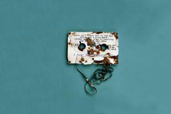 White cassette tape wallpaper, digital art, blue background, simple background