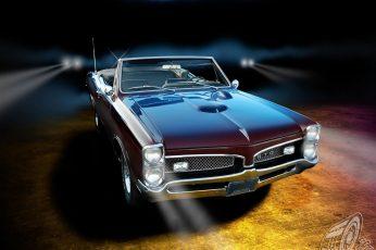Maroon Pontiac GTO convertible in close-up photography wallpaper, car, vintage