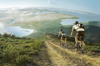 Mountain biking couple wallpaper, black bicycle helmet, sports, 1920×1080