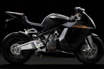 Black KTM sport bike wallpaper, KTM RC8, motorcycle, vehicle, transportation