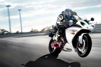 White Yamaha sport bike wallpaper, motorcycle, Yamaha YZF, vehicle, race tracks