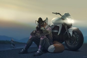 Girl anime character seats beside sports bike wallpaper, furry