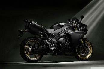 Black and gray sports bike wallpaper, Yamaha YZF, motorcycle, Yamaha Black