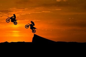 Dirt Bikes wallpaper, Stunts, Silhouette, Sunset, 4K, Off-roading, Motocross