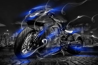Black sport bike wallpaper, Night, Blue, The city, Smoke, Neon
