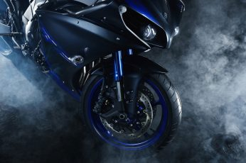 Black and blue sports bike wallpaper, motorcycle, motorbike, Yamaha YZF R1