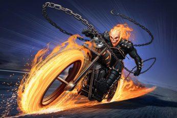 Comics Ghost Rider wallpaper, Bike, Chain, Fire, Marvel Comics