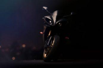 Black sports bike wallpaper, Yamaha YZF, R1, vehicle, bicycle, transportation