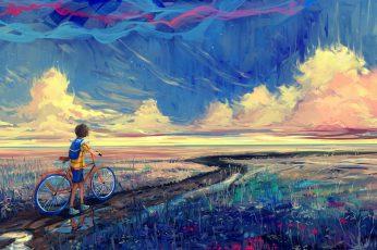 Boy holding bike while walking on pathway painting wallpaper, fantasy art