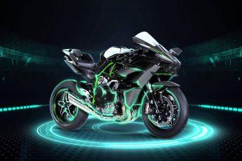 Black and green Kawasaki H2R sports bike wallpaper, motorcycle, Kawasaki Ninja H2R