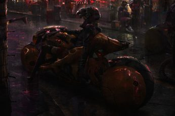 Cyberpunk wallpaper, Akira, futuristic, bikes, science fiction, digital