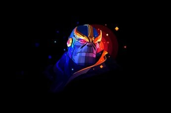 Thanos wallpaper, Avengers Infinity War, villain, digital art, illustration