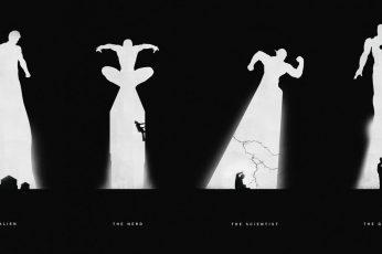 Six superhero silhouette posters wallpaper, monochrome, black, dark, Marvel Comics