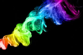 Rainbow color smoke wallpaper, colorful, black background, abstract