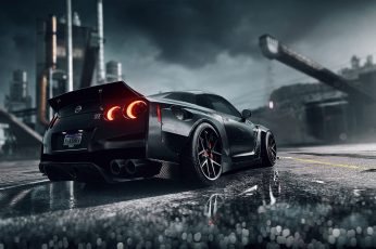 Auto wallpaper, Black, Machine, Nissan, NFS, Need for Speed, Game, Heat