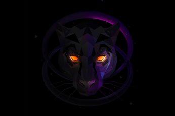 Black wallpaper, black panther, purple, low poly, digital art, lowpoly