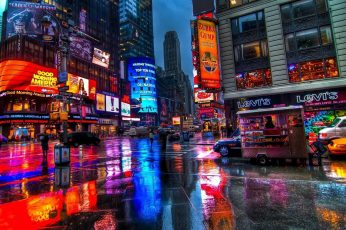 Reflection wallpaper, manhattan, times square, new york, neon sign, street