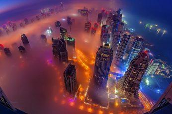 Cityscape wallpaper, metropolitan area, misty, metropolis, skyscraper