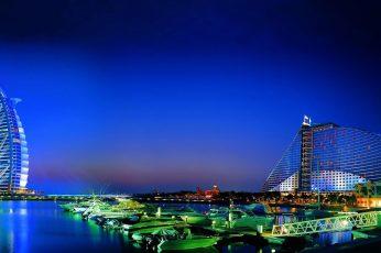 Dubai wallpaper, night sky, cityscape, skyscraper, city lights, bay, boats
