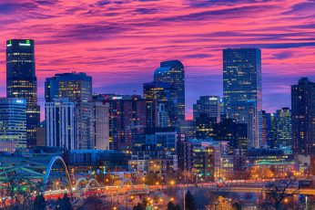 Landmark wallpaper, united states, colorado, evening, night, dusk, pink sky
