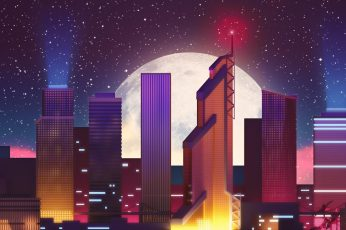 Tower block wallpaper, design, artwork, digital art, 1980s, retro, building