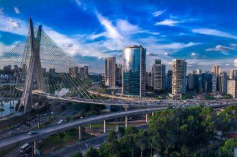 Skyscraper wallpaper, south america, pinheiros river, brazil, condominium