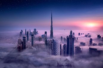 Cityscape wallpaper, Burj Khalifa, Dubai, City, Sunrise, Mist, Skyscraper, Building, Long Exposure, Tower, Clouds, Sky