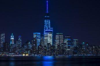 Night wallpaper, blue lights, cityscape, skyline, metropolis, reflection