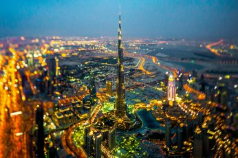 Burj Khalifa wallpaper, Dubai, cityscape, city lights, tilt shift, motion blur