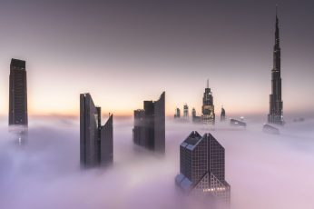 Grey highrise building wallpaper, Dubai, cityscape, mist, Burj Khalifa