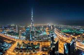 Cityscape wallpaper, Dubai, Skyscraper, Night, Lights, Mist, United Arab Emirates, Highway, Burj Khalifa, Architecture, City