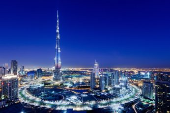 UAE city of Dubai wallpaper, burj khalifa building, lights, Night